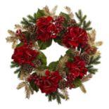 nearly natural Artificial Hydrangea Pine Wreath