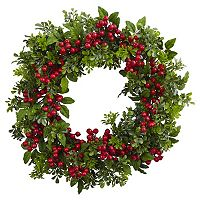 nearly natural Artificial Berry Boxwood Wreath