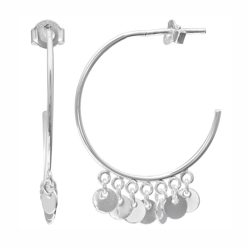 PRIMROSE Sterling Silver Dangling Disc Hoop Earrings