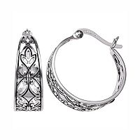 PRIMROSE Sterling Silver Filigree Leaf Hoop Earrings