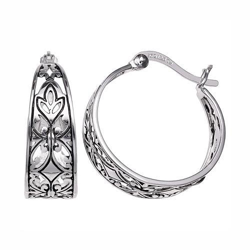 PRIMROSE Sterling Silver Filigree Leaf Hoop Earrings