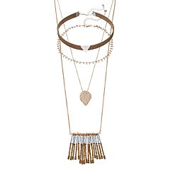 Mudd® Leaf Fringe Double Strand & Triangle Choker Necklace Set