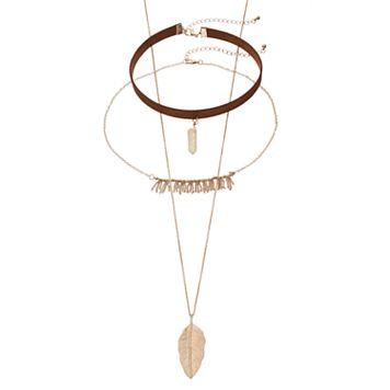 Mudd® Fringe, Leaf Pendant & Simulated Quartz Choker Necklace Set