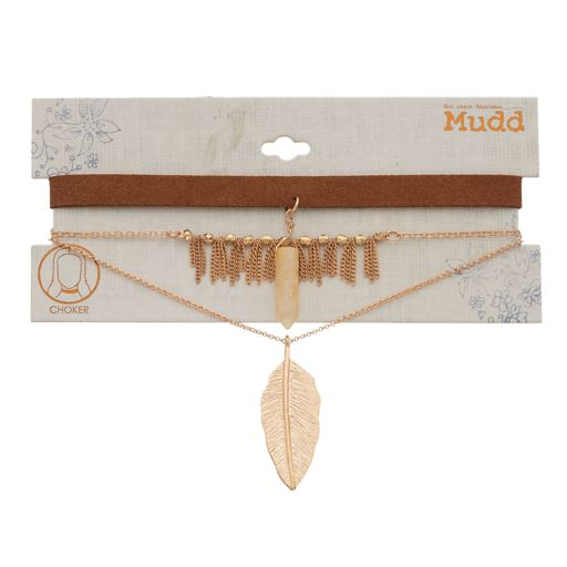 Mudd® Fringe, Leaf Pendant & Simulated Quartz Choker Necklace Set
