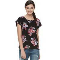 Juniors' Pink Republic Print High-Low Top