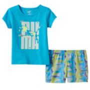 Toddler Girl PUMA Glittery Graphic Tee & Tie-Dye Shorts Set