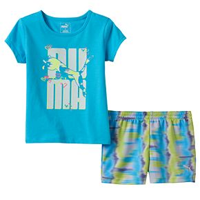 Toddler Girl PUMA Glittery Graphic Tee & Tie-Dye Shorts Set