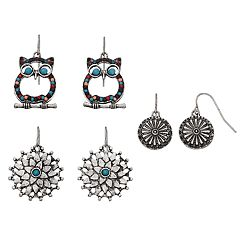 Mudd® Owl, Flower & Pinwheel Drop Earring Set