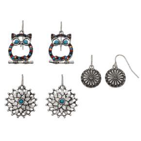 Mudd® Owl, Flower & Pinwheel Drop Earring Set