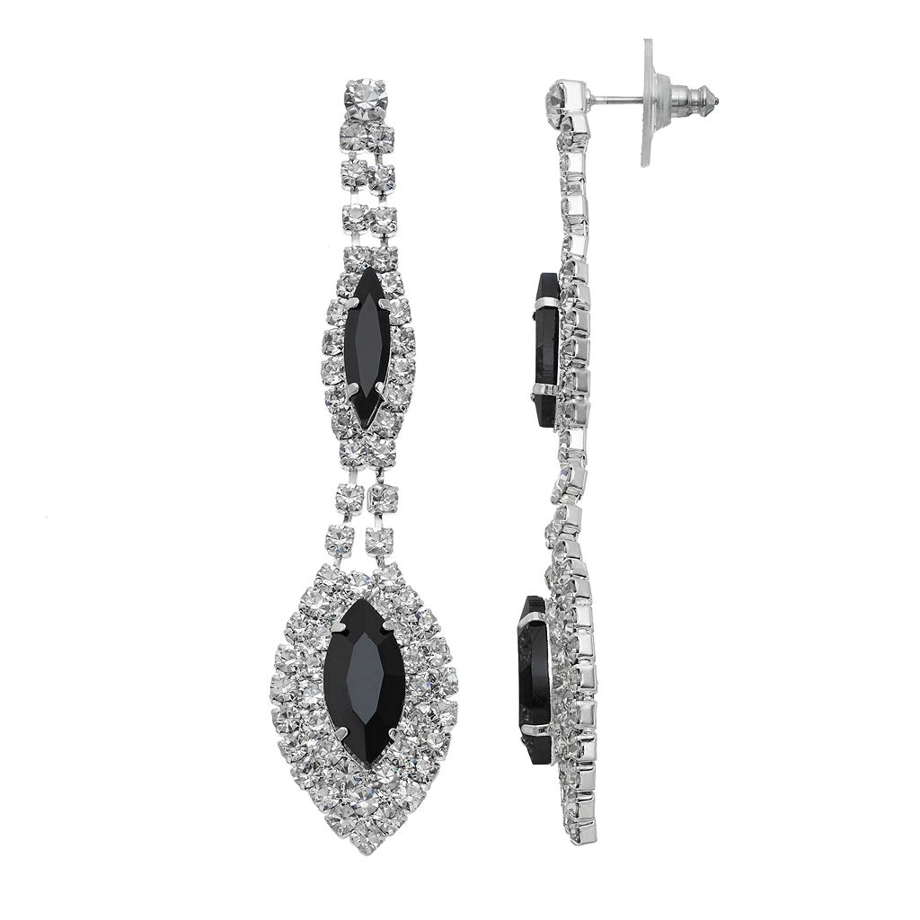 Double Marquise Black Stone Drop Earrings