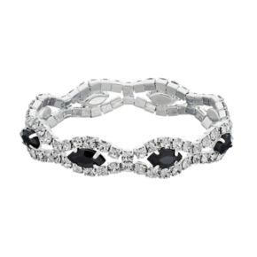 Black Marquise Stone Wavy Stretch Bracelet
