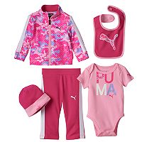 Baby Girl PUMA Camouflage Jacket, Striped Pants, Graphic Bodysuit, Bib & Hat Set