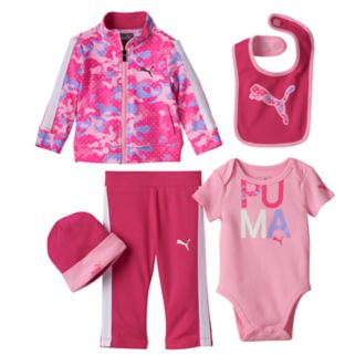 Baby Girl PUMA Camouflage Jacket, Striped Pants, Graphic Bodysuit, Bib & Hat Set