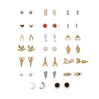 Mudd® Nickel-Free Eiffel Tower, Wishbone, Hearts & Fun Symbols Stud Earrings Set