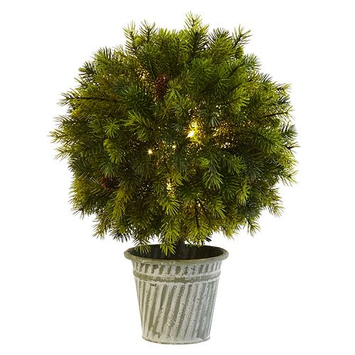 nearly natural 1.5-ft. Pre-Lit Artificial Pine Ball Topiary