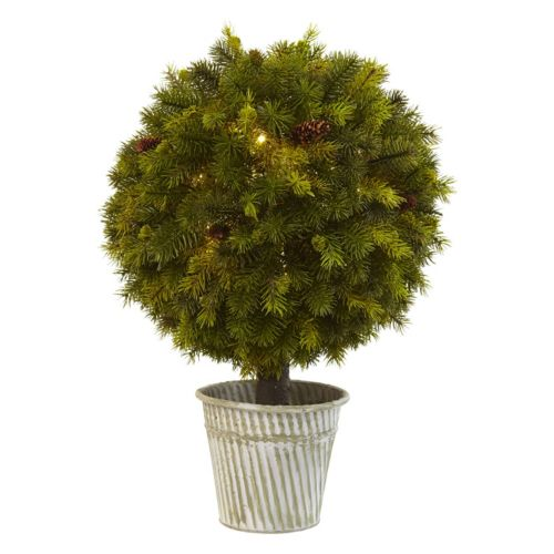 nearly natural 23-in. Pre-Lit Artificial Pine Ball Topiary