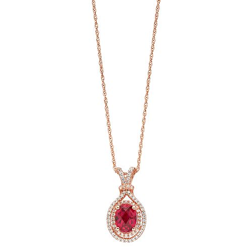 14k Rose Gold Over Silver Lab-Created Ruby & Lab-Created White Sapphire Oval Halo Pendant