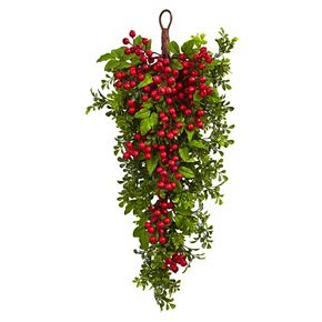 nearly natural Artificial Berry Boxwood Wall Decor