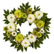 nearly natural 24-in. Artificial Peony & Mum Wreath
