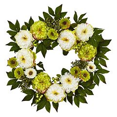 nearly natural 24 in Artificial Peony & Mum Wreath