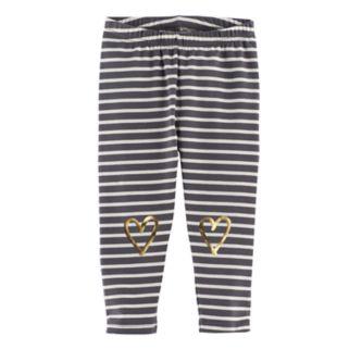 Baby Girl Jumping Beans® Striped Foil Heart Leggings