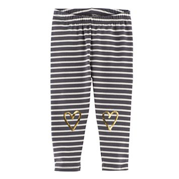 Baby Girl Jumping Beans® Striped Foil Heart Leggings