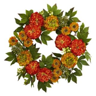 nearly natural Artificial Peony & Mum Wreath