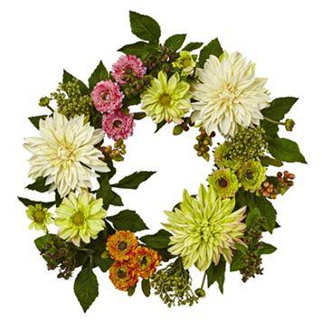 nearly natural Artificial Dahlia & Mum Wreath