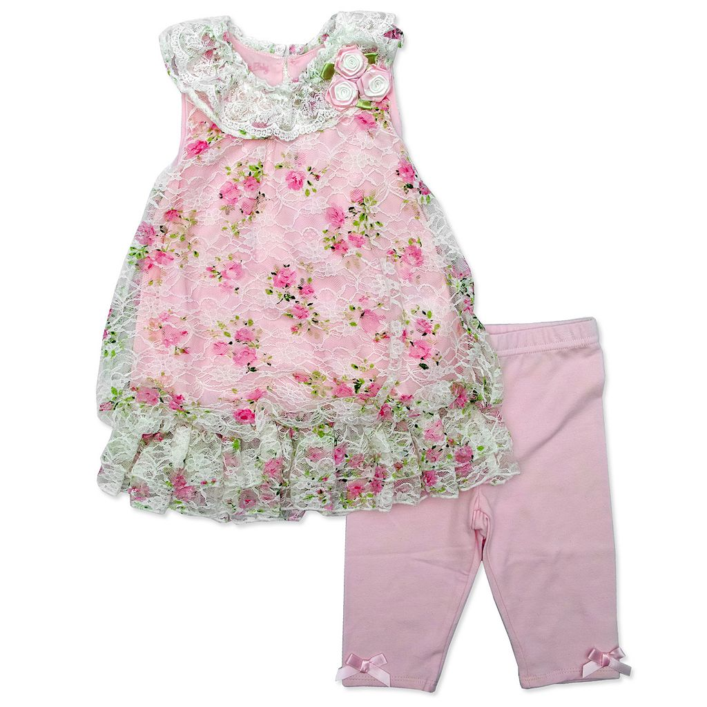 Baby Girl Nannette Lace Floral Top & Capri Leggings Set