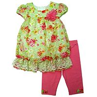 Baby Girl Nannette Lace Bubble-Hem Top & Capri Leggings Set