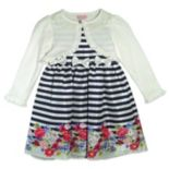 Baby Girl Nannette Striped Floral Dress & Shrug Set