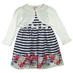 Baby Girl Nannette Striped Floral Dress & Shrug Se...