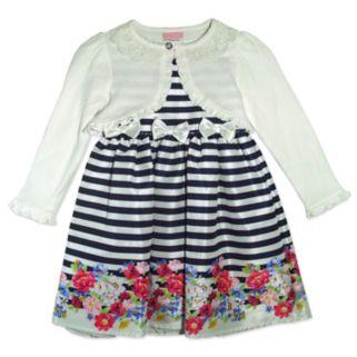 Baby Girl Nannette Striped Floral Dress & Shrug Set