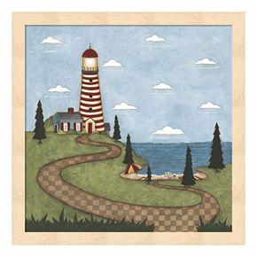 Red & White Lighthouse Framed Wall Art