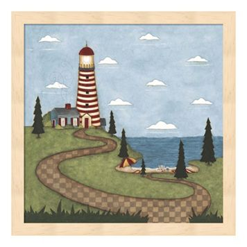 Red & White Lighthouse Framed Wall Art