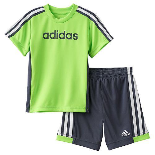 Baby Boy adidas Graphic Striped Tee & Striped Shorts Set