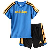 Toddler Boy adidas Graphic Striped Tee & Striped Shorts Set