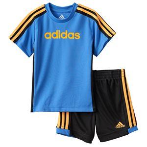 Toddler Boy adidas Graphic Striped Tee & Striped Shorts Set