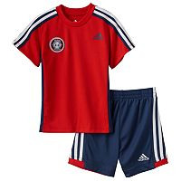 Toddler Boy adidas Logo Patch Tee & Striped Shorts Set