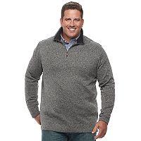Big & Tall Haggar Regular-Fit Marled Stretch Fleece Quarter-Zip Pullover