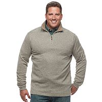 Big & Tall Haggar Regular-Fit Marled Stretch Fleece Quarter-Zip Pullover