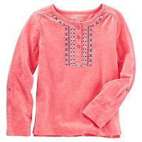 Girls 4-8 OshKosh B'gosh® Embroidered Slubbed Henley