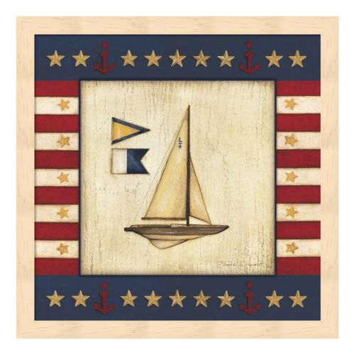 Yellow Sail Boat Framed Wall Art