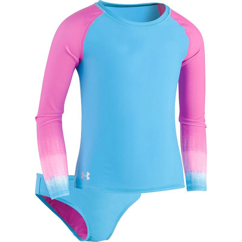 Girl's Under Armour Heatgear Two-Piece Rashguard Swimsuit, Size 7 - Pink