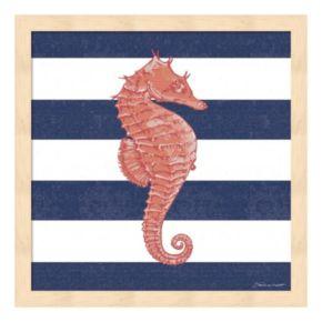 Seahorse Stripe Framed Wall Art