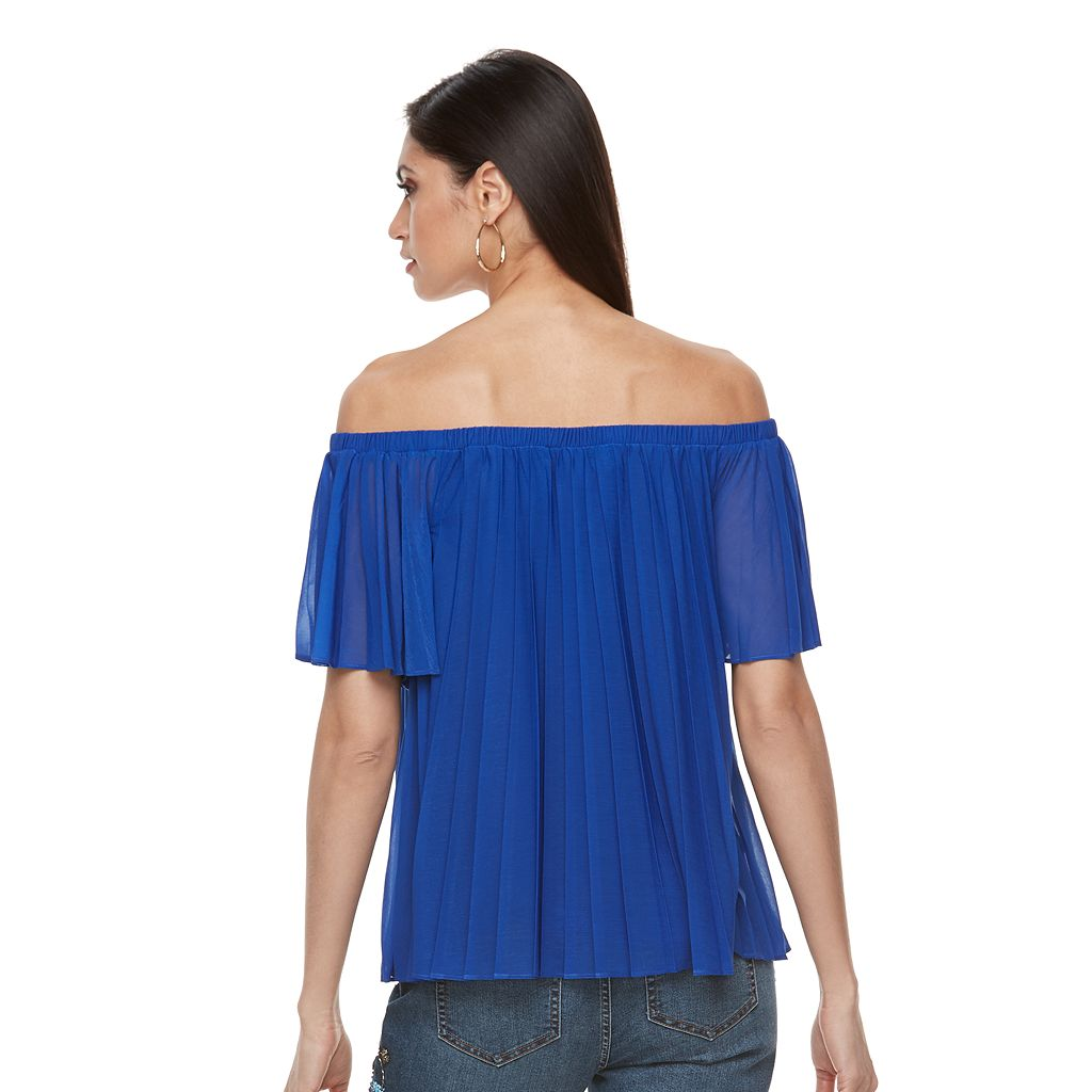Women's Jennifer Lopez Off-the-Shoulder Pleated Top