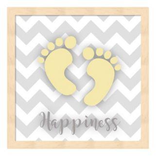 """Happiness"" Baby Feet Framed Wall Art"