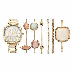 Women's Crystal Watch & Geometric Stone Bracelet Set
