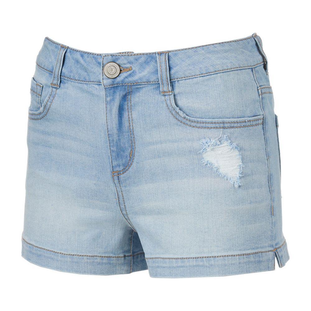 Juniors' SO® Ripped Denim Shortie Shorts