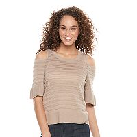Women's Apt. 9® Metallic Cold-Shoulder Crewneck Sweater